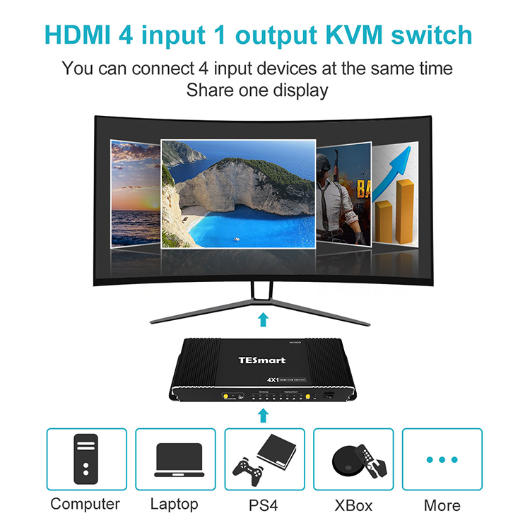 Tesla Elec 4x1 kvm switch 8 port wholesale for television-8