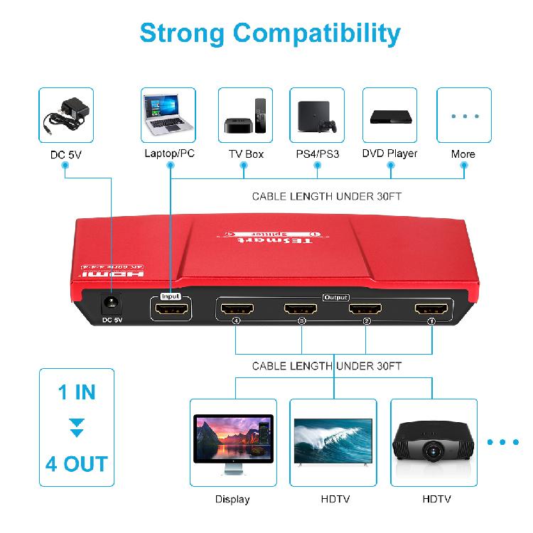 Tesla Elec 1x8 best hdmi splitter supplier for media player-2