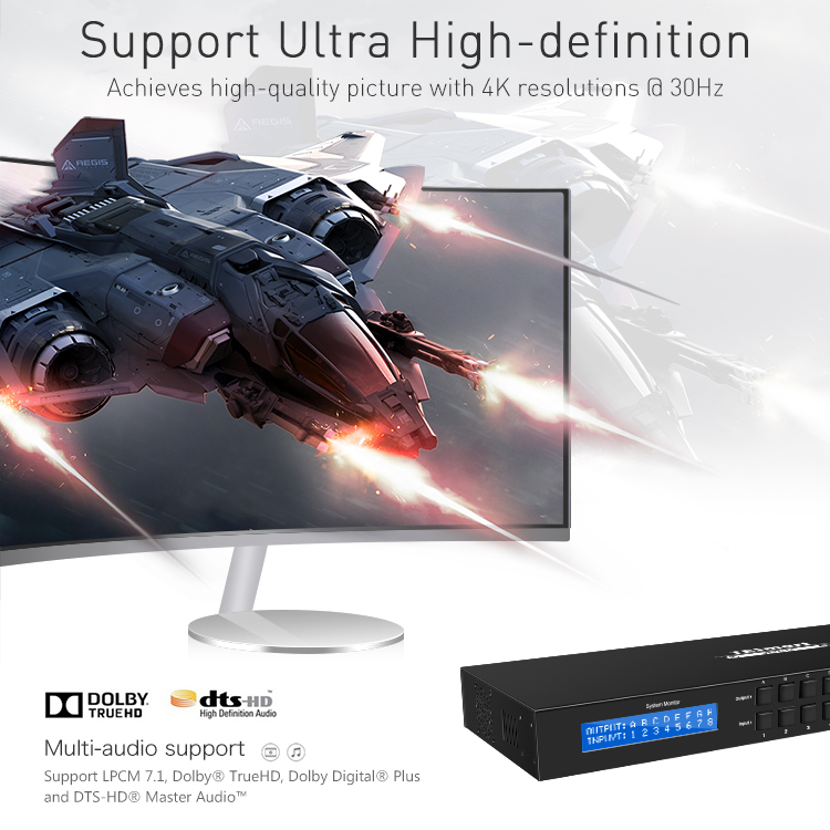 support 1080p 4k hdmi matrix switcher 8x8 supplier for media player-6