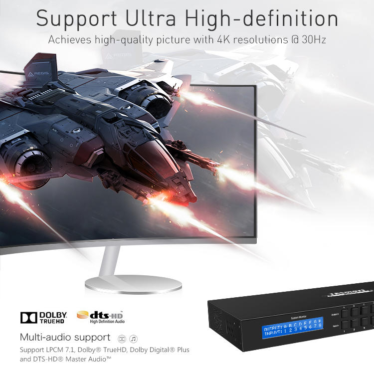 support 1080p 4k hdmi matrix switcher 8x8 supplier for media player