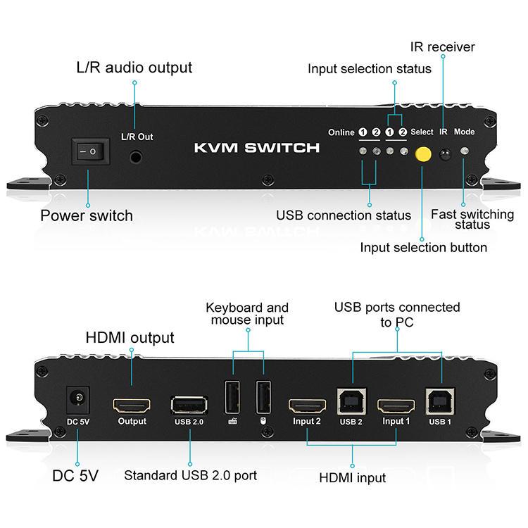 Tesla Elec multiview hdmi kvm switch 4 port for computer