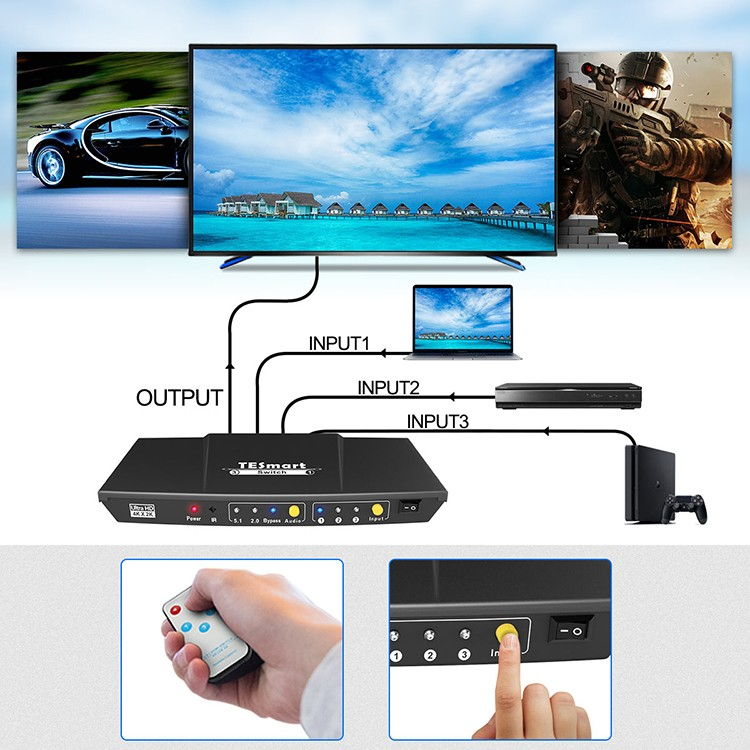 Tesla Elec compatible hdmi switch with remote wholesale for DVD player-7