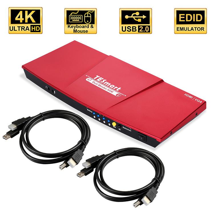 4x2 HDMI+HDMI Dual Monitor KVM  4K@60Hz 4:4:4