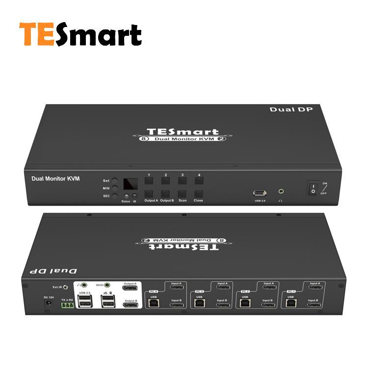 4-Port Dual Monitor DP KVM Switch