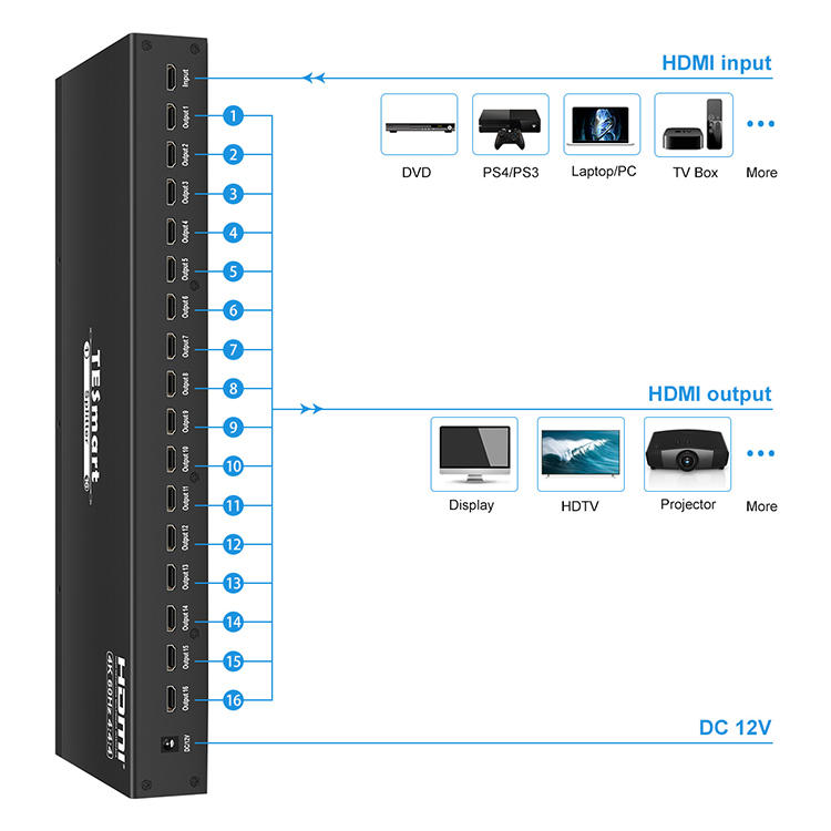 Tesla Elec 1x8 hdmi splitter 4 port for DVD player-2