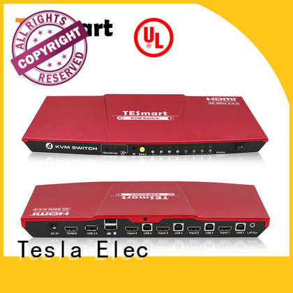 Tesla Elec aluminum alloy usb kvm switch 4 port customized for checkout counter