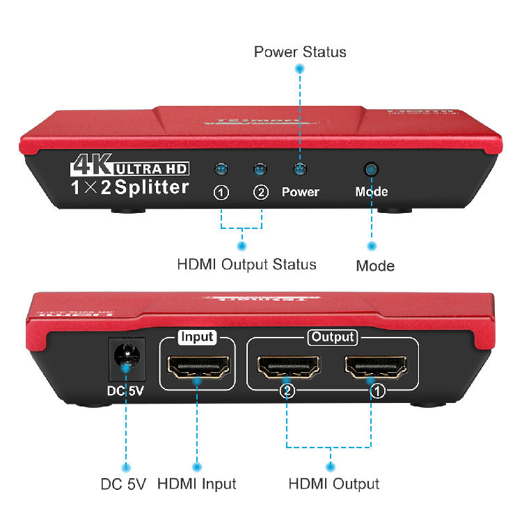 support full hd 4k hdmi splitter 1 in 2 out 1x16 customized for display device-1