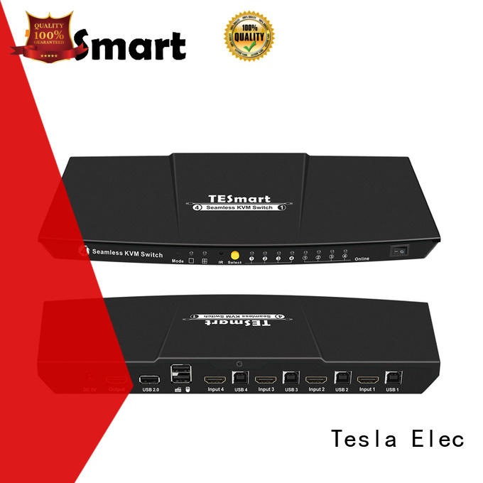 Tesla Elec 4x1 kvm switch hdmi dual monitor customized for checkout counter
