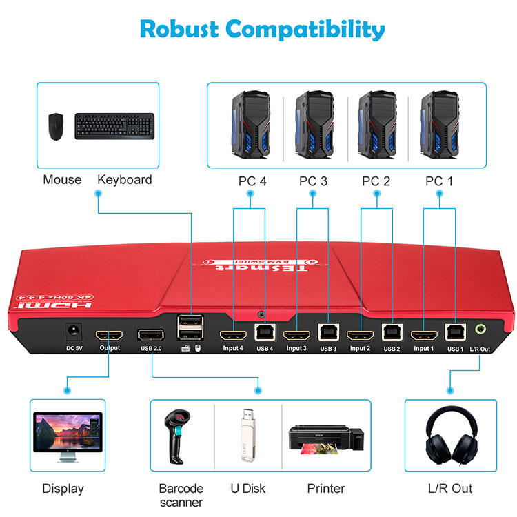 Tesla Elec aluminum alloy usb kvm switch 4 port customized for checkout counter-2