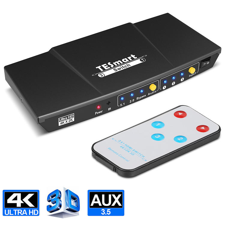 Tesla Elec compatible hdmi switch with remote wholesale for DVD player-3