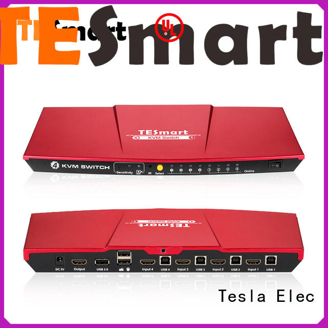 Tesla Elec aluminum alloy kvm switch hdmi dual monitor wholesale for checkout counter