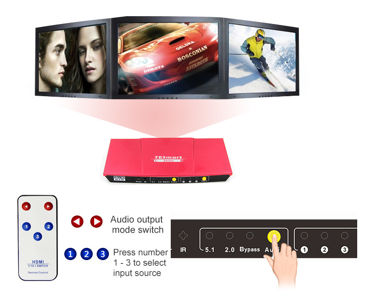 Red 3x1 HDMI Switch with audio out-5