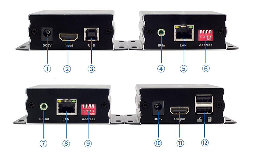 120M HDMI KVM Many to Many Over IP Extender w/ IR-1